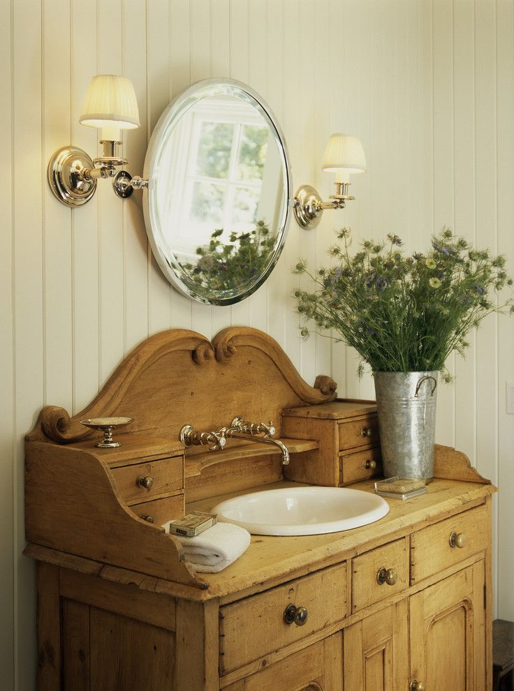 St Louis Furniture Stores   Beach Style Bathroom  and Bathroom Lighting Beadboard Floral Arrangement Pivot Mirror Sconce Vintage Wall Lighting Wall Mount Faucet Washstand Wood Paneling