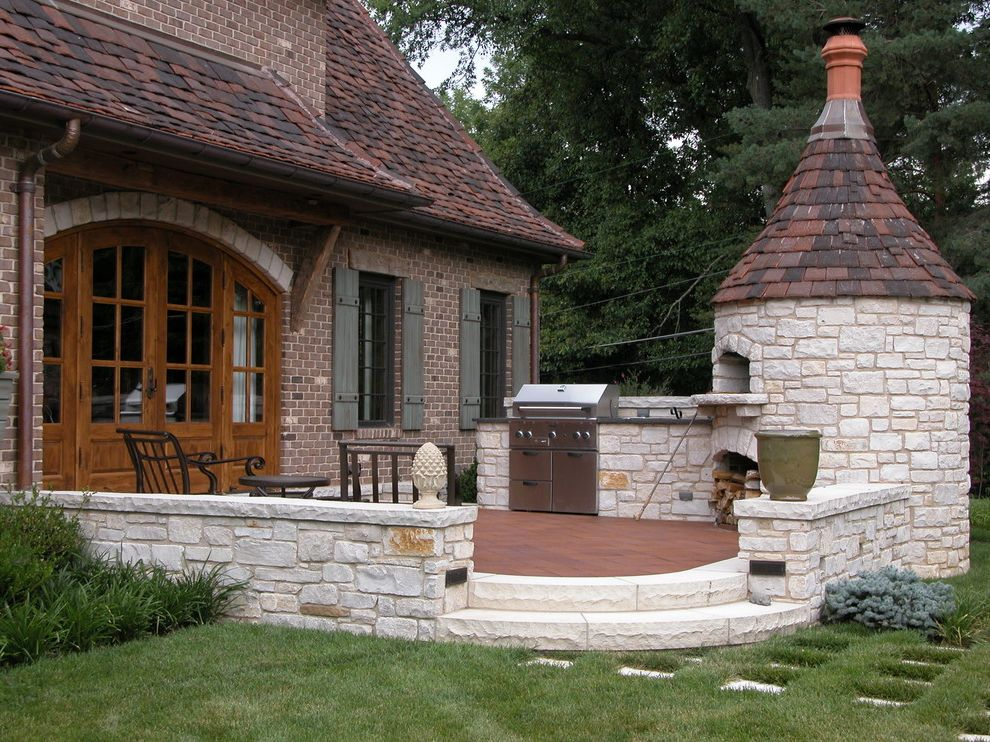 St Louis Furniture Stores   Traditional Patio  and Arched Door Backdoor Bbq Brick House Brick Oven Fire Oven French Doors Grass Low Wall Outdoor Furniture Path in Lawn Patio Patio Furniture Pavers Pizza Oven Roof Shutters Steps Stone Wall Wood Oven
