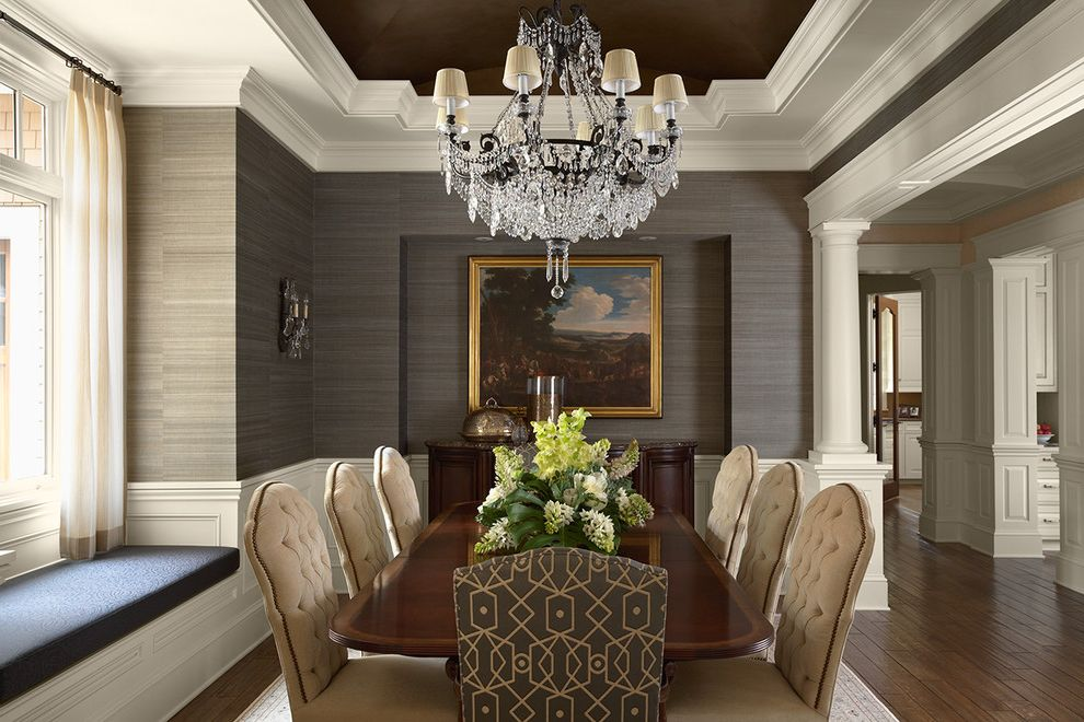 Stacking Paper Trays   Traditional Dining Room Also Bench Seat Chandelier Crown Molding Dining Table Raised Panel Wainscot Tapered Columns Tray Ceiling Tufted Dining Chairs Wallpaper White Painted Wood Wood Floor Woven