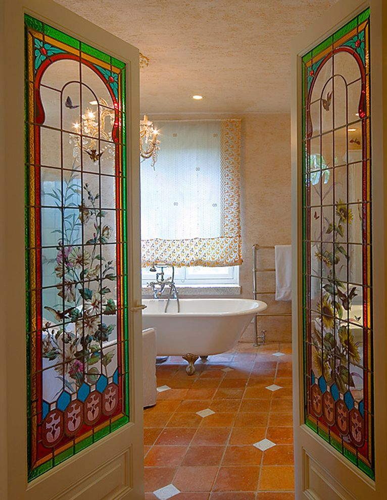 Stained Glass Evanston   Victorian Bathroom  and Beige Wall Chandelier Clawfoot Tub Faux Finish Floor Tile Design Freestanding Bathtub Interior Doors Pendant Lighting Stained Glass Tile Flooring Towel Rack Towel Warmer Window Treatments