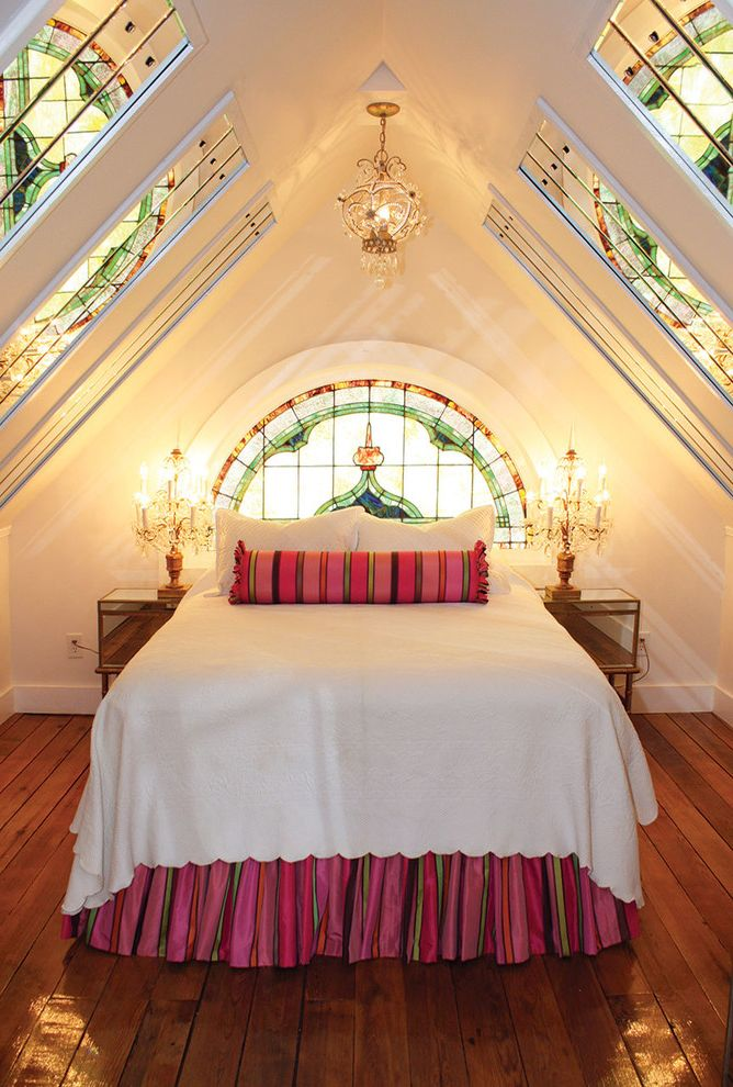 Stained Glass Evanston   Victorian Bedroom Also Arched Window Attic Bedroom Crystal Chandelier Stained Glass Window Striped Bed Skirt Striped Bolster Pillow White Bedding