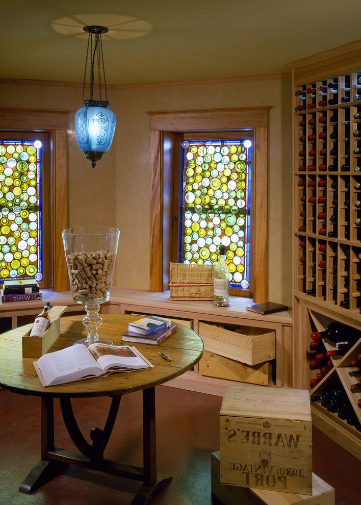Stained Glass Evanston with Traditional Wine Cellar Also Bench Seat Pendant Light Round Accent Table Stained Glass Wine Storage Wood Crates Wood Trim