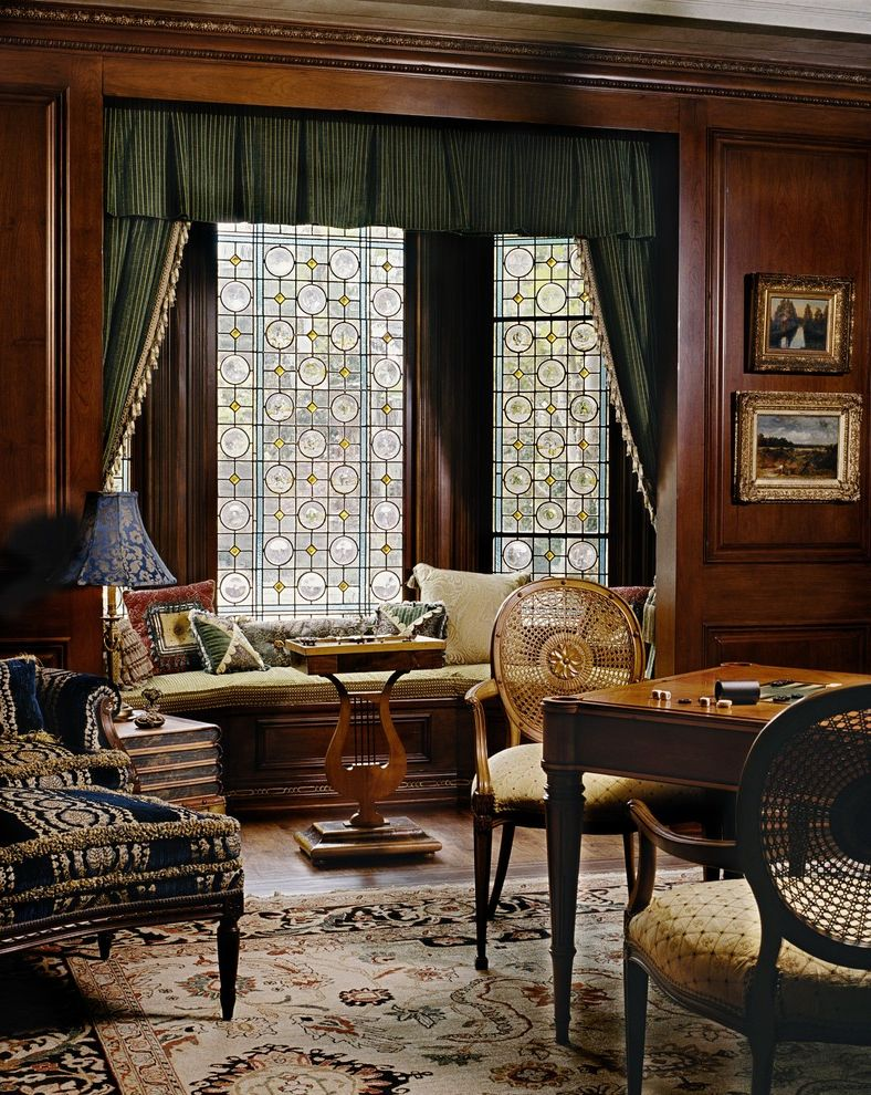 Stained Glass Evanston with Victorian Family Room Also Caned Chair Carpet Chair Decorative Pillows Drapery Gold Picture Frames Ottoman Paneling Side Table Stained Glass Study Upholstery Window Seat Window Treatments Wood Flooring Wood Table