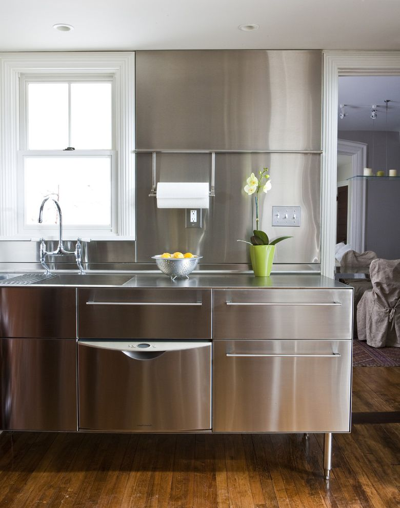 Stainless Steel Prep Table with Sink   Transitional Kitchen Also Kitchen Faucet Kitchen Sink Kitchen Window Paper Towel Holder Recessed Lighting Stainless Steel Backsplash Stainless Steel Cabinets Stainless Steel Countertop White Trim Wood Floors