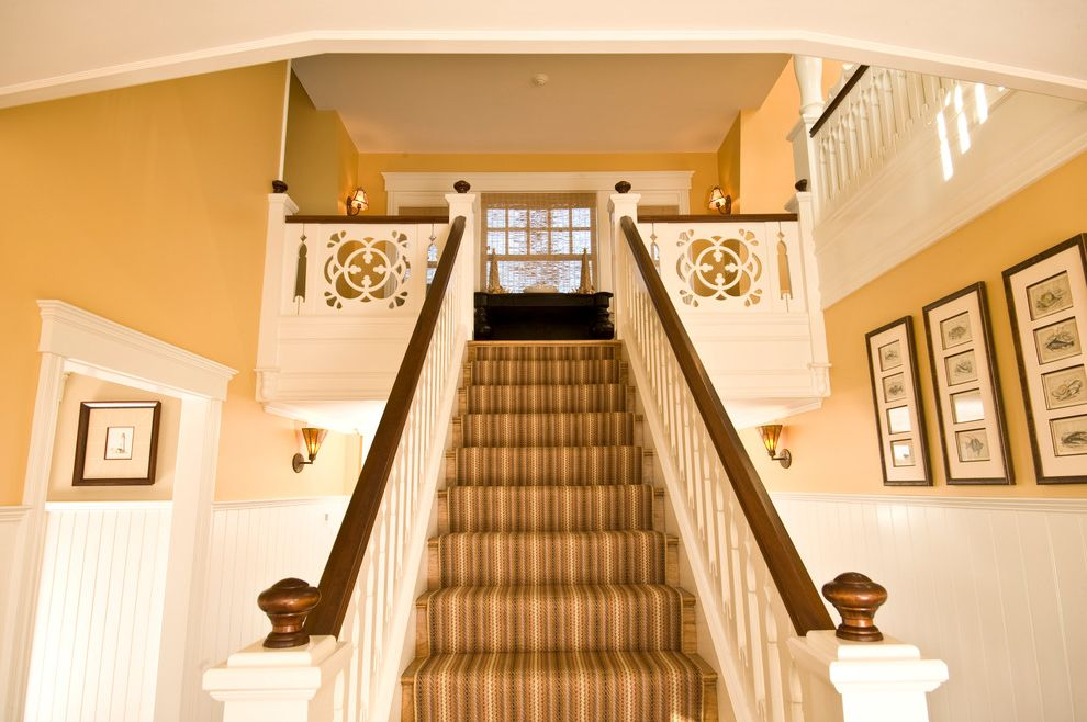 Stainmaster Carpet Reviews   Traditional Staircase Also Beadboard Dark Stained Wood Handrail Entryway Finials Fretwork Marthas Vineyard Massachusetts Millwork Paneling Staircase Striped Wainscot White Painted Woodwork Wood Railing Yellow