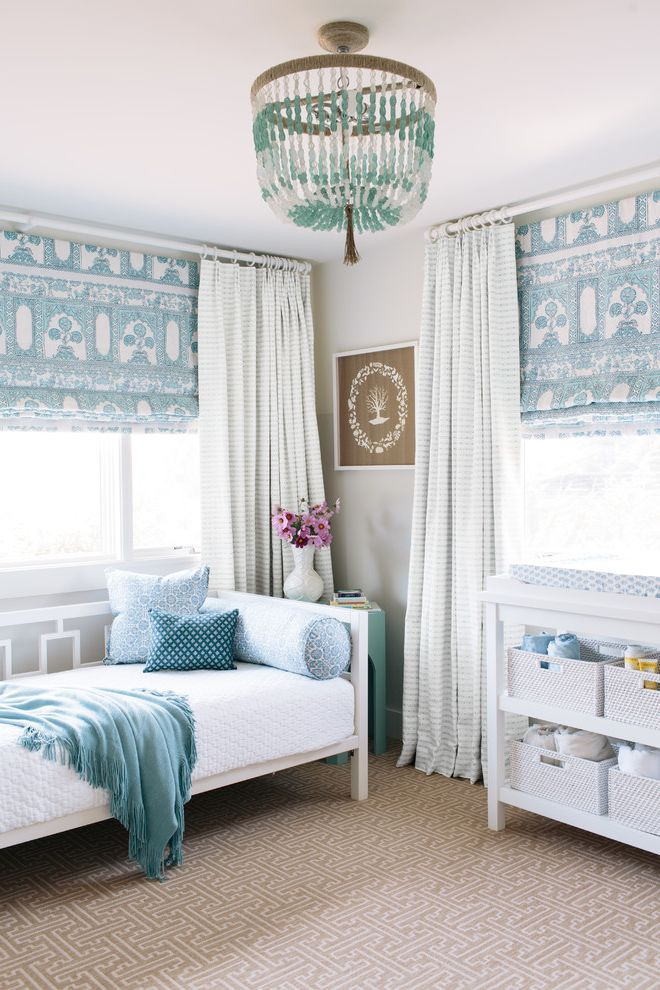 Stainmaster Carpet Reviews with Mediterranean Bedroom  and Beaded Chandelier Blue and White Brown Carpet China Seas Framed Art John Robshaw Nursery Quadrille Roman Shades Stark Carpet Striped Curtain West Elm Day Bed