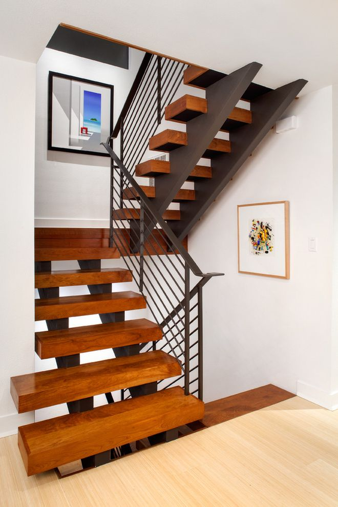 Stair Tread Kit   Contemporary Staircase  and Art Blocky Contemporary Staircase Floating Tread Landing Light Wood Floor Metal Railing Modern Staircase Open Riser Steel Beam Wood Stairs