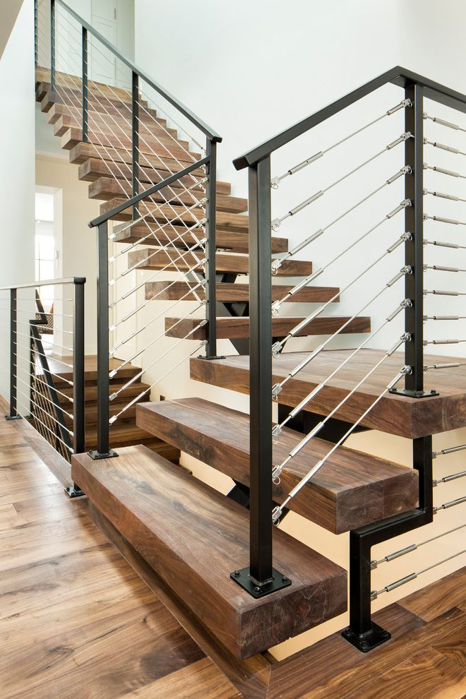 Stair Tread Kit with Contemporary Staircase  and Black and Silver Railing Black Railing Dark Wood Stairs Open Riser