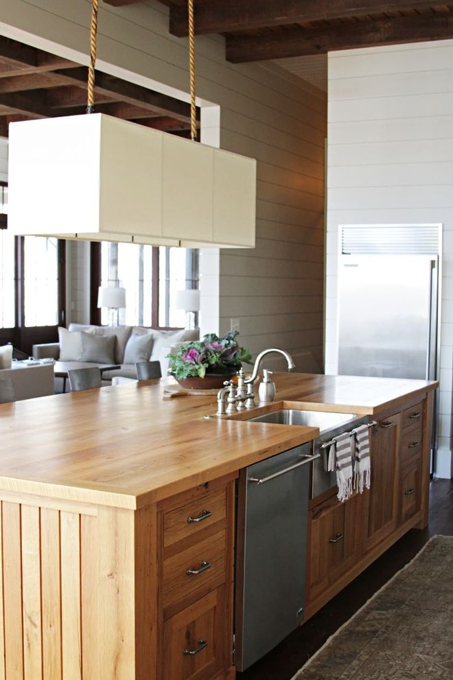 Stand Alone Dishwasher   Beach Style Kitchen Also Dark Wood Beams Lamp Hanging From Rope Open Space Painted Wooden Walls Solid Wood Island Stainless Steel Appliances Steel Sink Wooden Countertop Wooden Kitchen Island