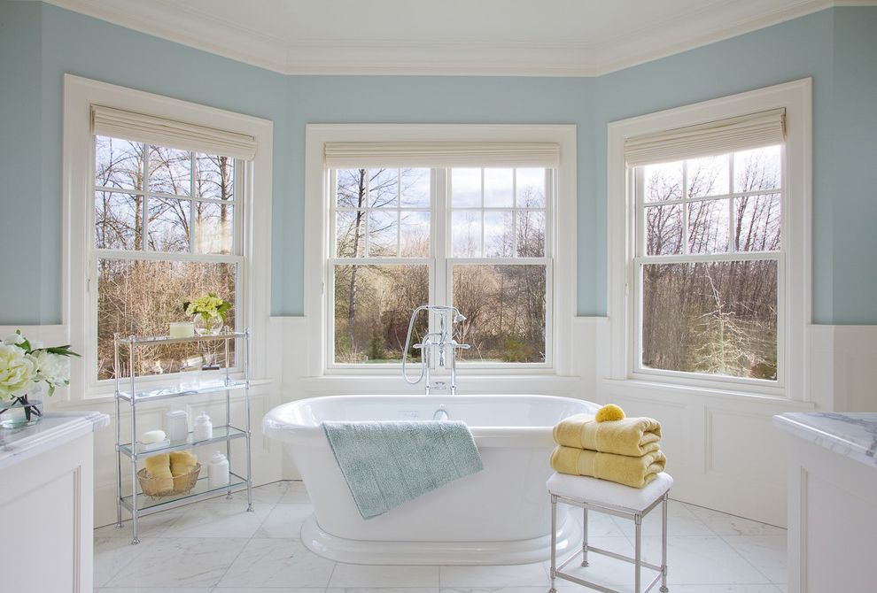 Stand Alone Dishwasher   Traditional Bathroom  and Alcove Bay Window Blue Walls Crown Molding Free Standing Tub Marble Floors Marble Tiles Nook Roman Shades Spa Stand Alone Tub Traditional Bathroom Wainscoting White and Blue Windows