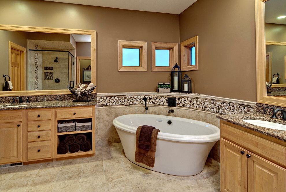 Stand Alone Dishwasher with Contemporary Bathroom Also Accent Tile Air Massage Tub Bathtub Brown Curve Granite Counter Large Mirror Oval Tub Pebble Accent Square Windows Tan Tile Border Tile Floor Wood Trim Wood Vanity