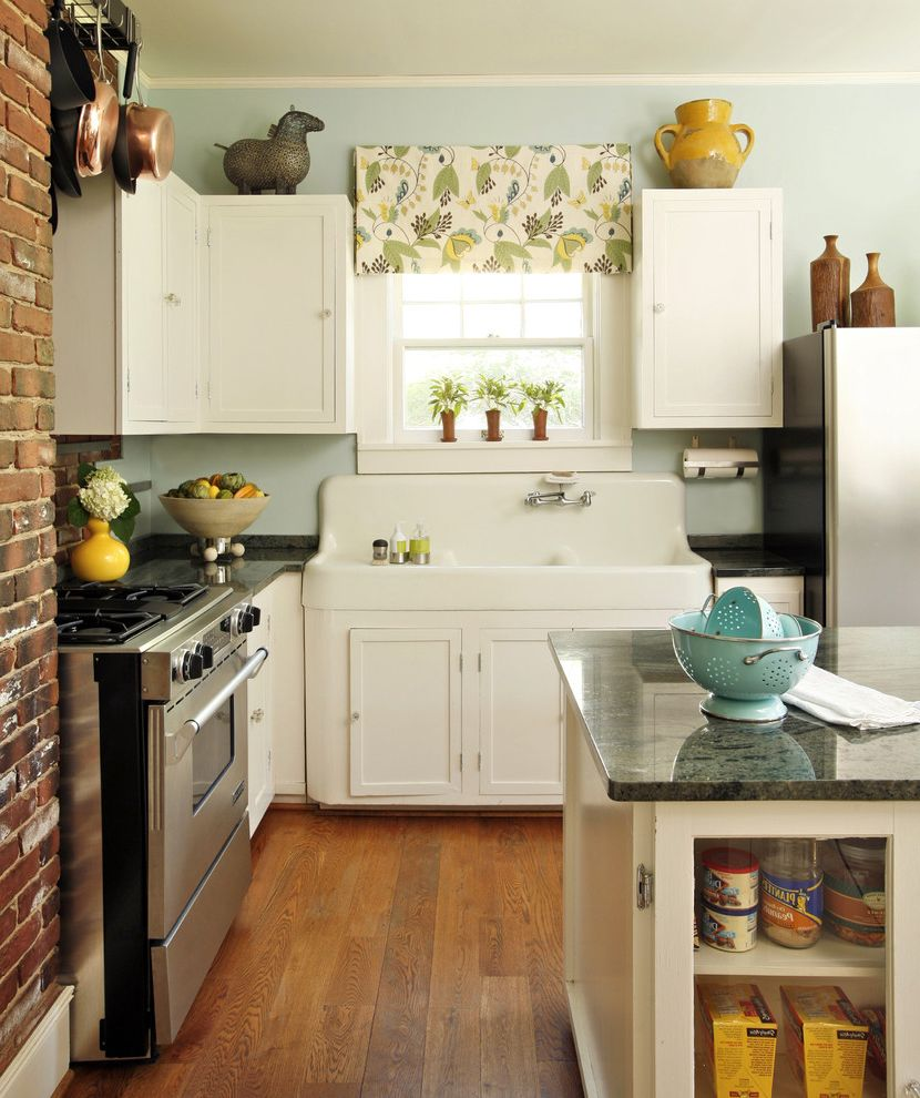 Stand Alone Kitchen Sink with Eclectic Kitchen and Apron Sink Brick Copper Floral Granite Horse Island Painted Cabinets Pots Turned Wood Valance Vintage Sink Wood Yellow