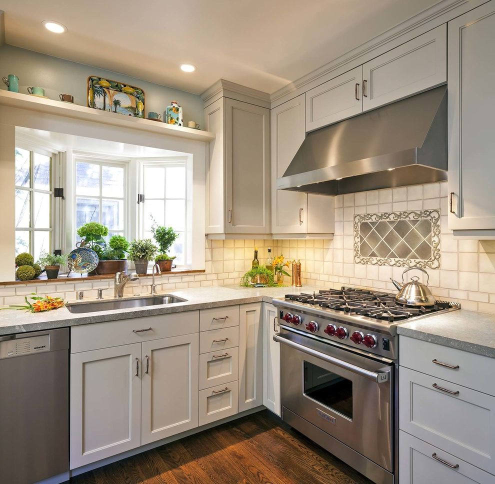 Stand Alone Kitchen Sink With Traditional Kitchen And Bay Window Frameless Cabinets Garden Window Gray Countertop Light Cabinets Organization Recessed Lighting Slide In Range Small Kitchen Finefurnished Com