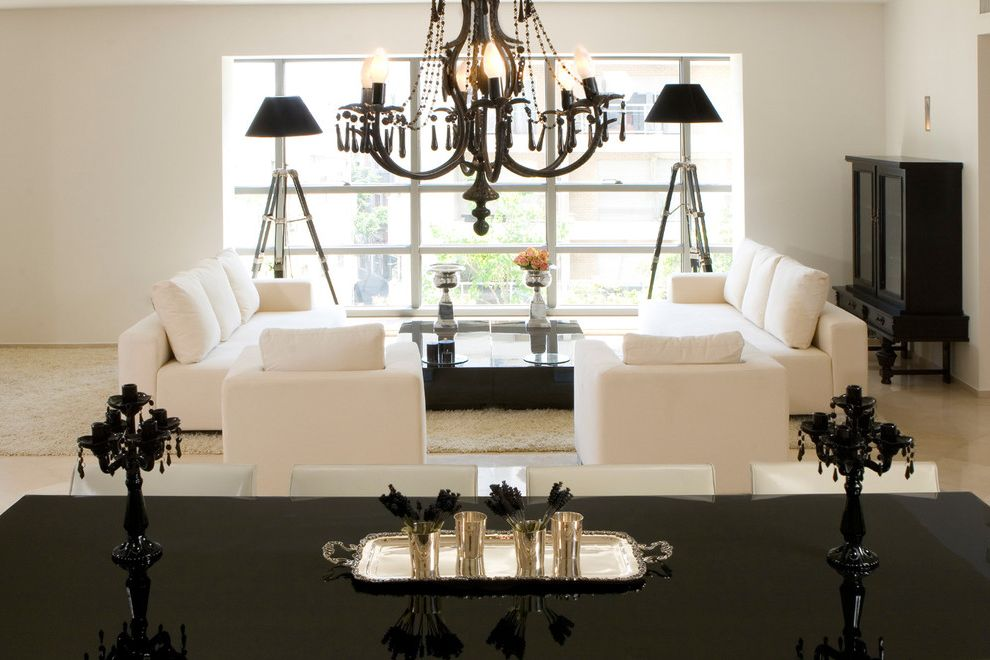 Stand Lamps for Living Room   Contemporary Living Room  and Black and White Black Glass Chandelier Black Lacquer Candelabra Modern Armchar Murano Glass Silver Symmetrical Tray Tripod Lamp Twin Sofa White White Armchair White Rug White Sofa