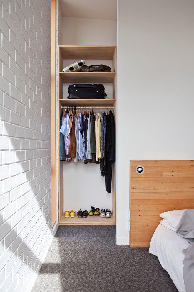 Standard Closet Depth   Contemporary Closet Also Built in Closet Carpet Corner Closet Hanging Rack Open Shelves Painted Brick Small Closet