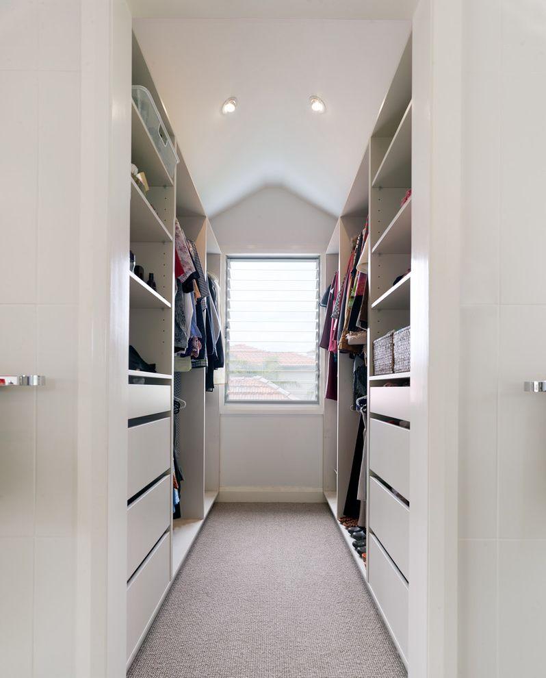 Standard Closet Depth   Contemporary Closet Also Built in Drawers Carpet Dormer Window Drawers Louvers Master Bedroom Narrow Closet Open Shelves Open Shelving Walk in Wardrobe Walk in Closet