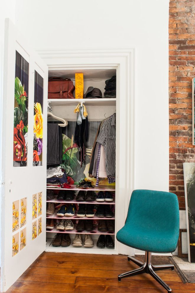 Standard Closet Depth   Eclectic Closet  and Bedroom Closet Clothing Closet Door Decoration Medium Hardwood Floor My Houzz Shelves Shoe Storage Shoes Small Closet Ideas Space Saving Ideas Swivel Chair Teal Chair