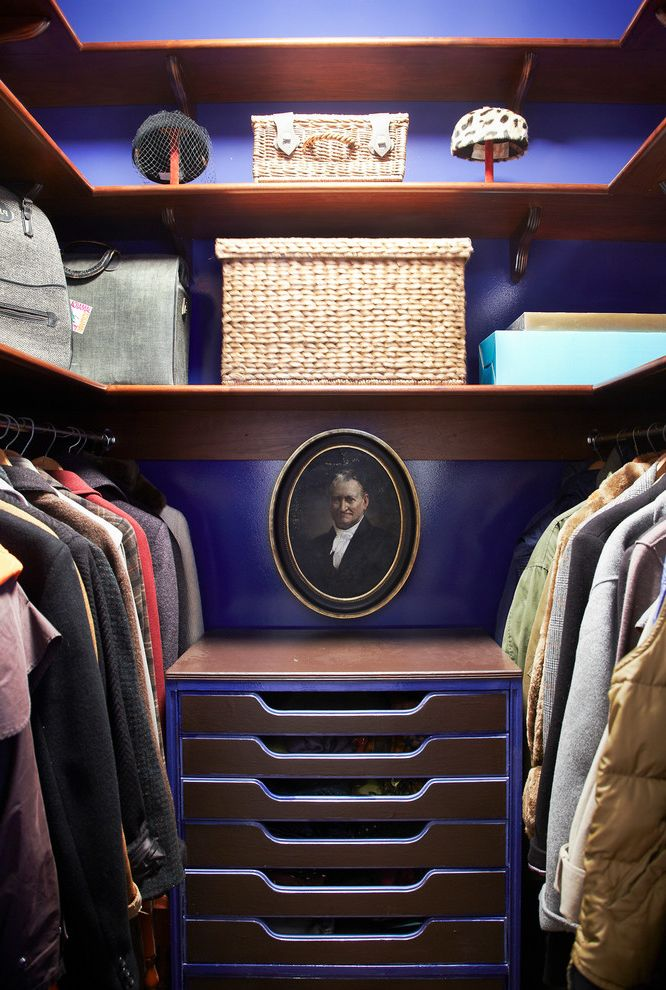 Standard Closet Depth   Eclectic Closet  and Drawers Glossy Walls Hat Stand Portrait Purple Walls Wood Shelves