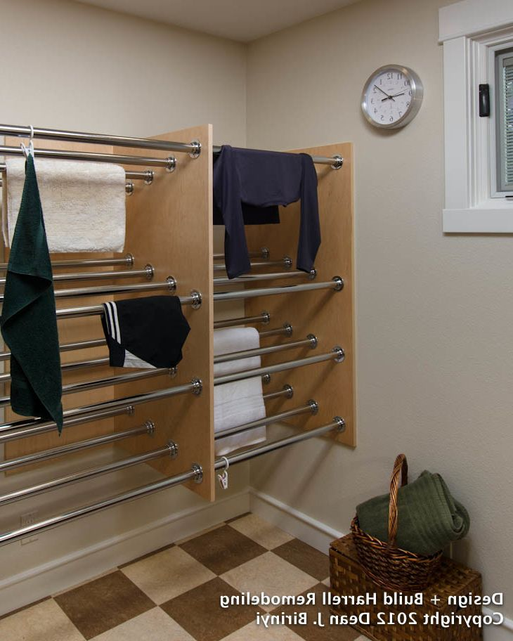 Standard Closet Depth with Contemporary Laundry Room  and Drying Rack