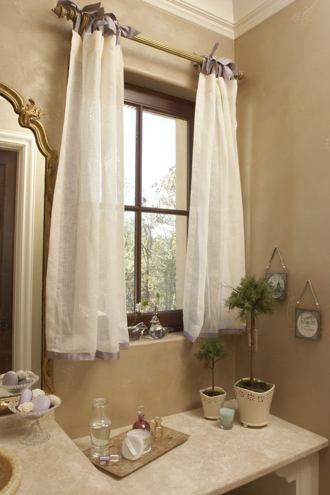 Standard Curtain Lengths   Traditional Spaces Also Bath Accessories Beige Wall Container Plants Curtain Hardware Curtains Drapes Faux Finish Gilded Mirror Neutral Colors Potted Plants Topiaries Wall Art Wall Decor Window Treatments