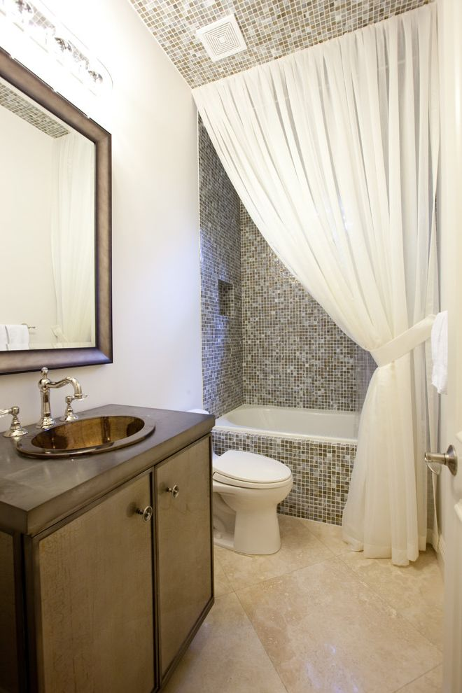 Standard Curtain Lengths with Contemporary Bathroom  and Curtain Panel Glass Sink Mirror Mosaic Tile Shower Curtain Single Sink Tile Ceiling Tile Floor Tile Tub Surround Travertine Vanity White Walls