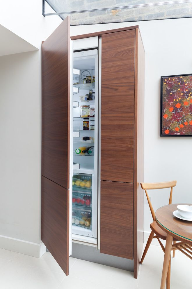 Standard Fridge Depth with Contemporary Kitchen  and Baseboard Flat Panel Cabinets Glass Ceiling Integrated Refrigerator Interior Design Details Walnut White Walls Wood Grain