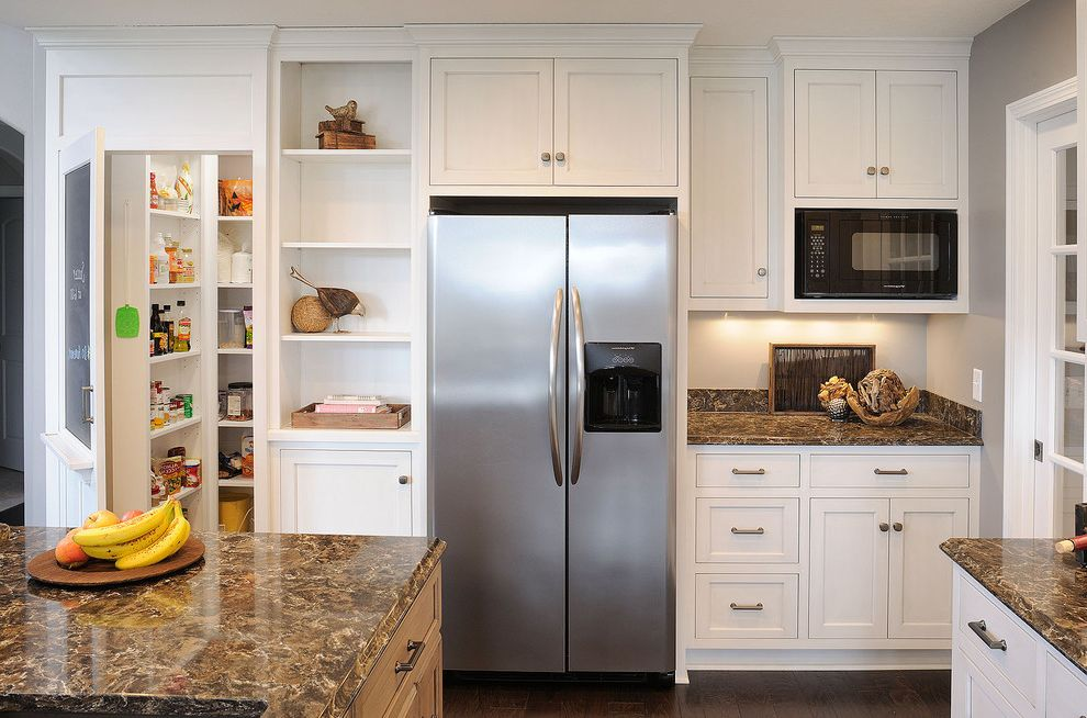 Standard Fridge Depth with Traditional Kitchen  and Food Storage Kitchen Island Larder Shaker Kitchen Cabinets Shelves Stone Countertop White Cabinets White Kitchen