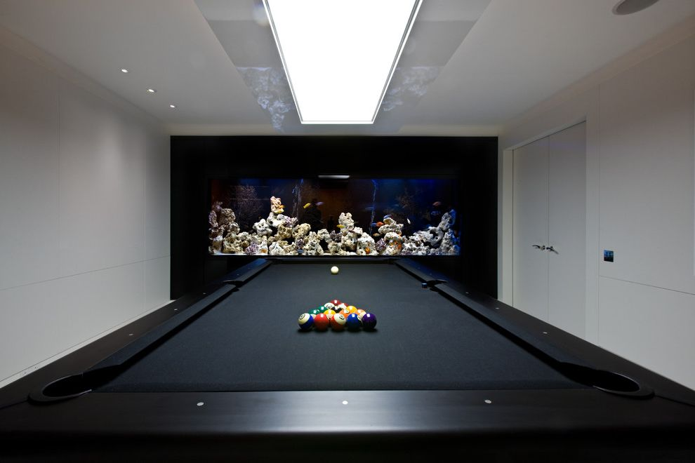 Standard Pool Table Size   Contemporary Family Room  and Aquarium Black Pool Table Ceiling Light Lacquer Large Light Ocean Rock Overhead Light