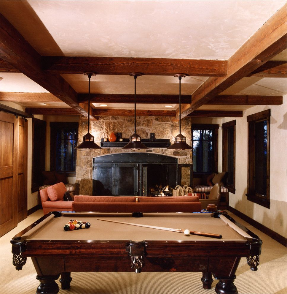 Standard Pool Table Size   Rustic Family Room Also Beige Wall Ceiling Lighting Coffered Ceiling Exposed Beams Faux Finish Game Room Pendant Lighting Pool Table Recreation Room Rustic Stone Fireplace