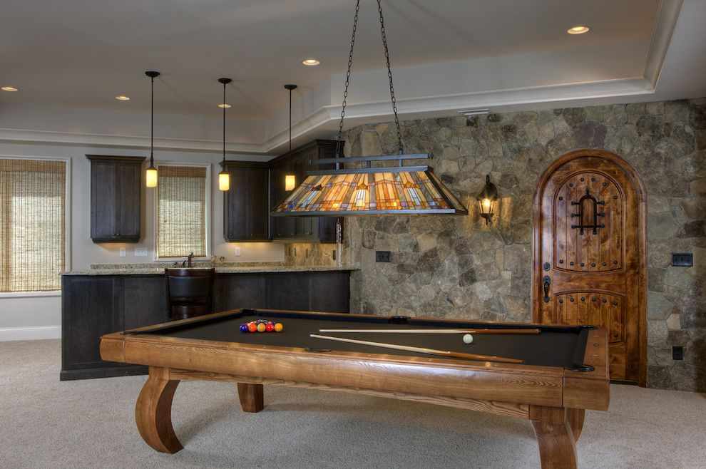 Standard Pool Table Size   Traditional Basement  and Bar Billiard Light Billiard Table Carpet Curtains Dark Wood Home Bar Pendant Light Pool Table Recessed Lighting Stained Glass Stone Wall Wood Cabinet Wood Door