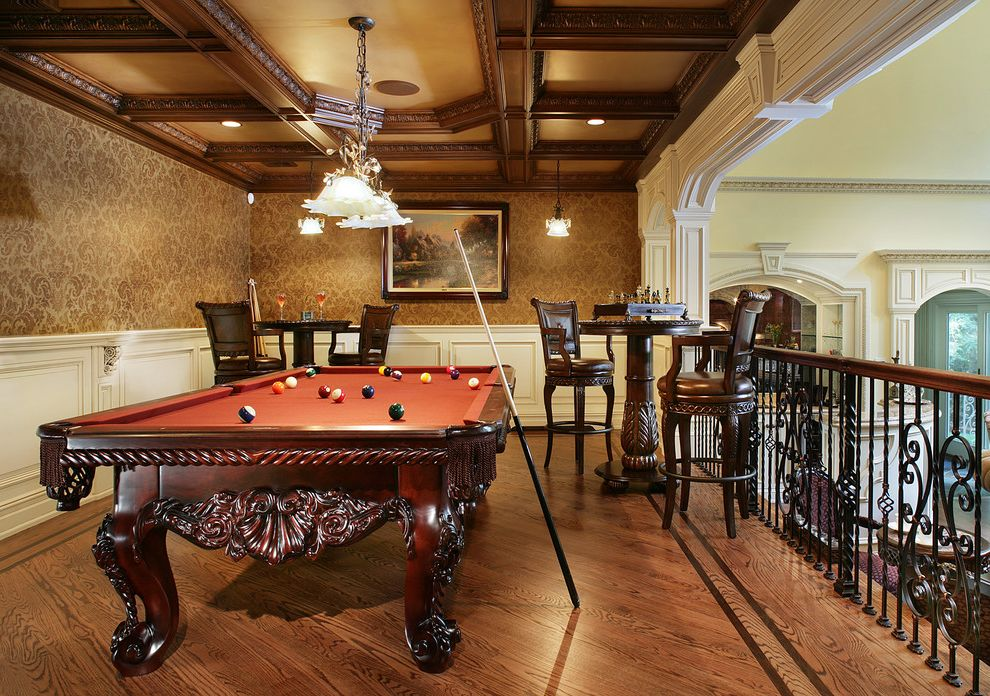 Standard Pool Table Size   Traditional Family Room  and Balcony Billiar Light Billiards Carved Wood Furniture Coffered Ceiling Damask Hardwood Floor High Top Table Iron Railing Leather Bar Stools Ornate Pool Table