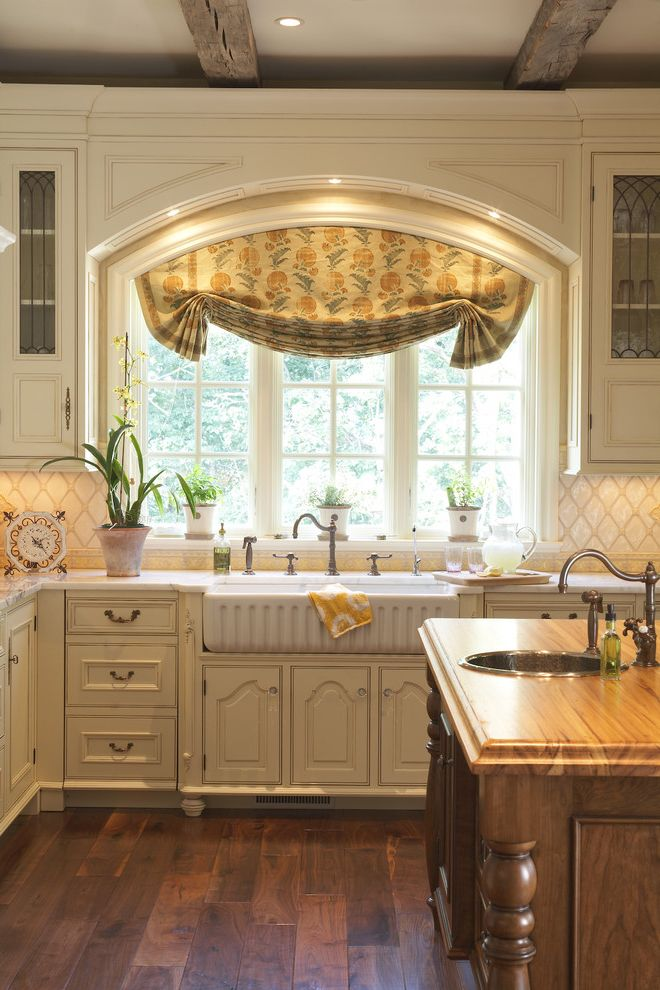Standard Window Width   Traditional Kitchen Also Can Lights Country Kitchen Cream Cabinets Curtain Farmers Sink Kitchen Cabinets Kitchen Faucet Kitchen Island Kitchen Lighting Kitchen Window Neutral Cabinets Potted Plants Recessed Lighting Wood Floors