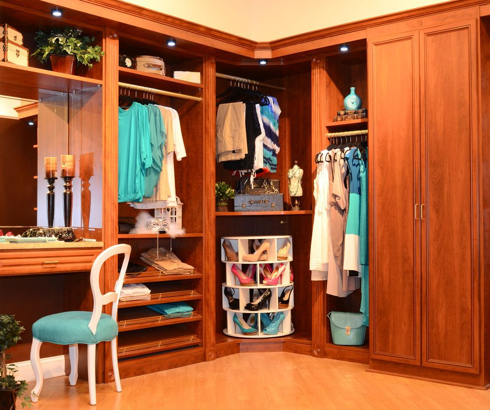 Standing Closet Rack   Traditional Closet Also Beige Wall Blue Side Table Built in Closet Built in Closet Storage Closet Clothes Rack Dressing Room Lazy Susan Shoe Rack Leaning Shelves Makeup Vanity Shoe Rack Shoe Storage Wood Cabinets Wood Floor