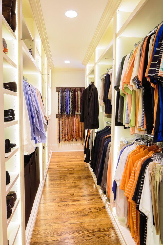 Standing Closet Rack with Traditional Closet  and Ceiling Lighting Crown Molding Hanging Clothes Rack Narrow Closet Recessed Lighting Shoe Racks Shoe Storage Tie Rack Walk in Closet Wood Floors