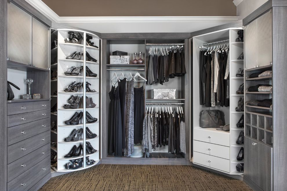 Standing Closet Rack with Transitional Closet  and Cabinet Lazy Susan Closet Organization Gray and White Grey and White Hanging Rods His and Hers Shoe Shelves