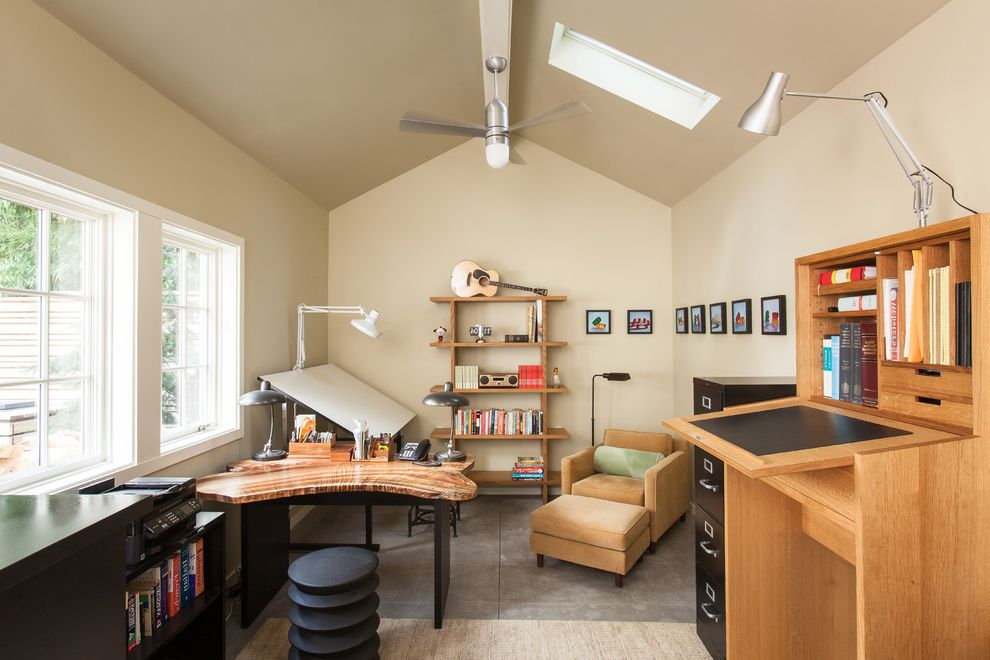 Standing Fan Home Depot   Transitional Home Office Also Ceiling Fan Converted Garage Detached Office Drafting Table Skylight Studio Office