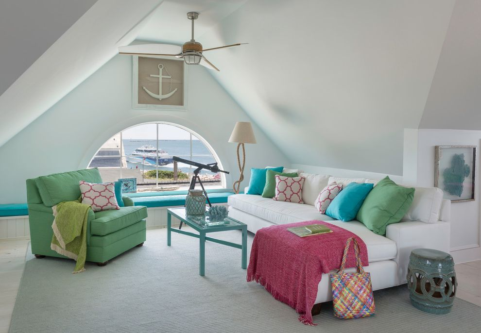 Standing Fan Home Depot with Beach Style Family Room  and Arch Window Beach Cottage Beach Home Beachfront Built in Built in Storage Ceiling Fan Coastal Coastal Cottage Coastal Decor Coastal Home Coastal Living Decor Nautical