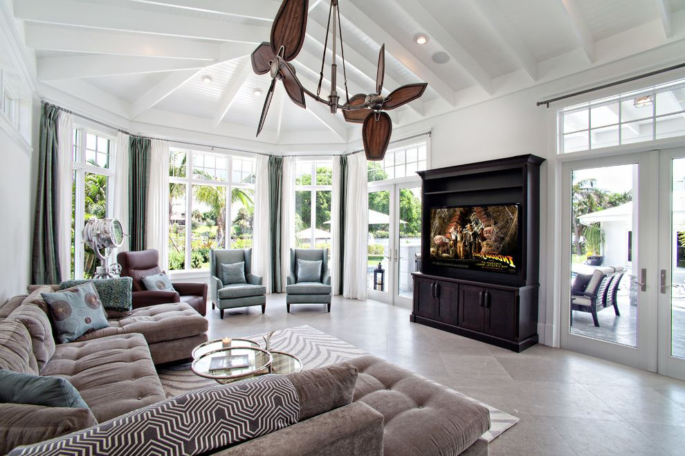 Standing Fan Home Depot with Tropical Family Room Also Accent Chairs Area Rug Double Ceiling Fan Florida Home Sofa White Paneled Ceiling Windows