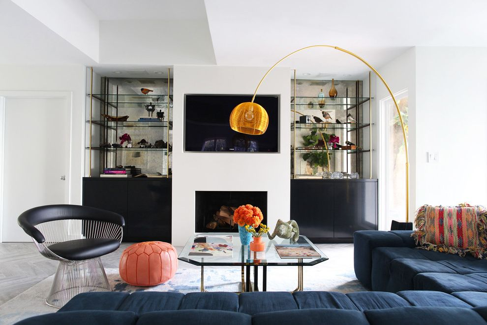 Standing Lamp with Shelves with Midcentury Living Room Also Airy Bright Californian Chic Collected Colorful Cozy Deep Sectional Sofa Eclectic Foxed Mirror Glamorous Gold Arc Lamp Hills Hip Hollywood Mid Century Modern Orange Pouf