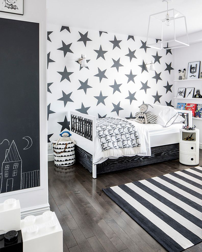Star Nursery Las Vegas   Contemporary Kids  and Bed Bedding Black and White Chalkboard Floating Shelves Pendant Light Striped Rug Toys Wallpaper