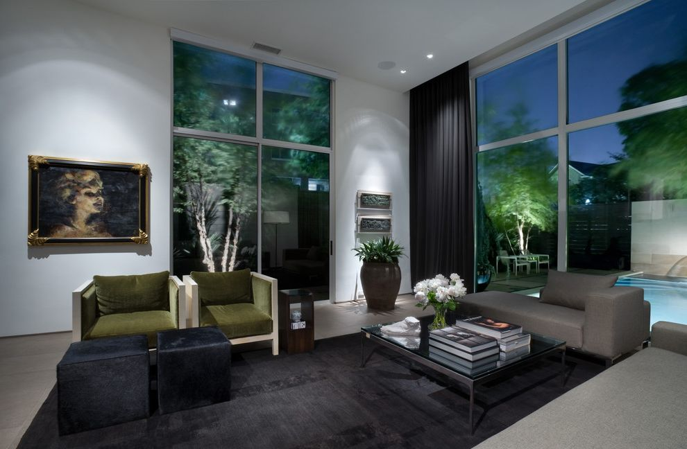 Star Nursery Las Vegas with Modern Living Room Also Contemporary Dark Dark Rug Glass Coffee Table Glass Door Green Armchair High Ceiling Large Potted Plant Large Window Long Drapes Modern Daybed Moody Pool Sexy Sophisticated Warm