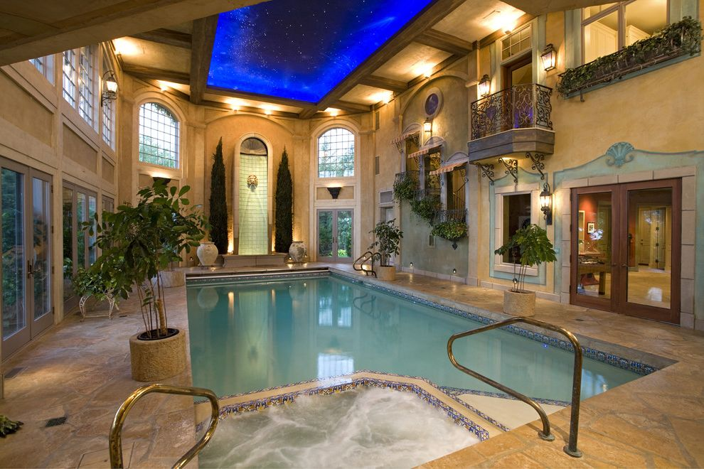 Star Pointe Realty   Traditional Pool  and Balcony Ceiling Treatment Fountain Hot Tub House Plants Interior Pools Jacuzzi Pool Tile Spa Star Ceiling Waterfall