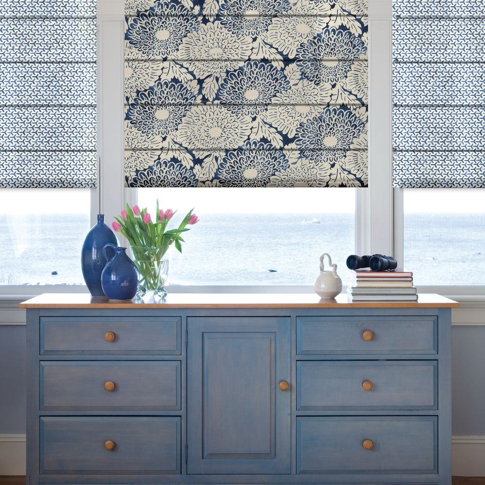 Star Pointe Realty with Beach Style Entry  and Curtains Drapery Drapes Drawer Storage Flat Fold Roman Shade Powdered Blue Cabinets Print Roman Shades Printed Roman Shade Roman Shade Roman Shade Print Roman Shades Shades Shutter Window Treatments