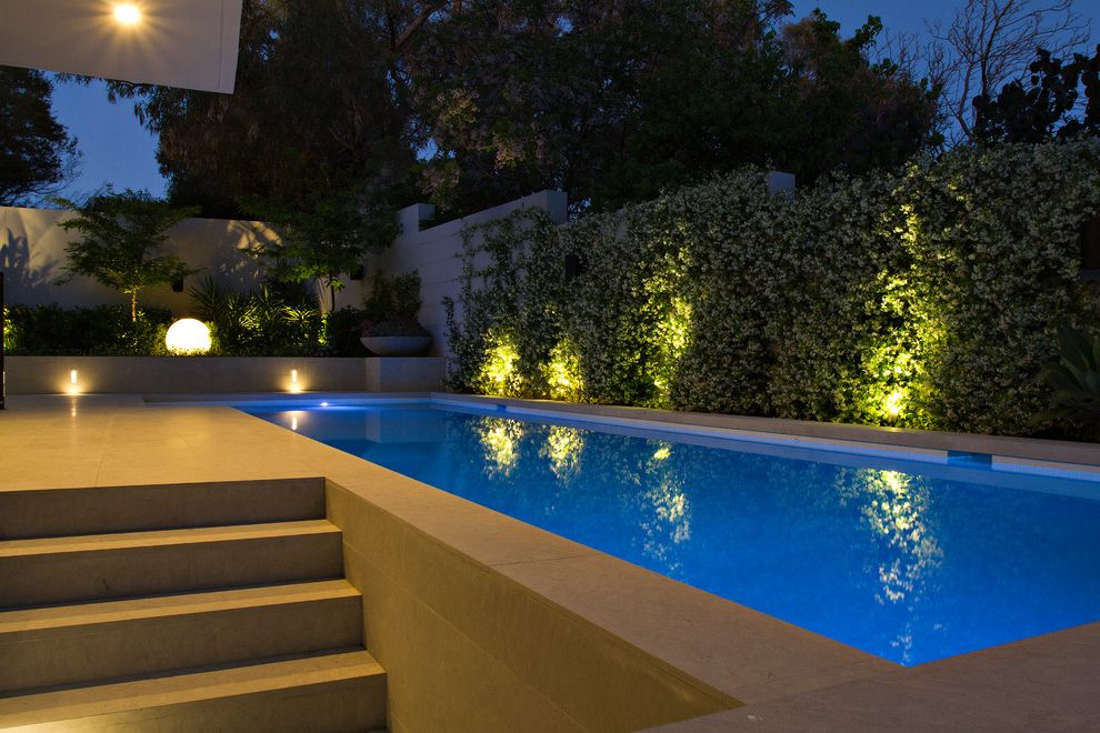 Star Pointe Realty with Contemporary Pool  and Exterior Lighting Landscape Lighting Planter Boxes Pool Lighting Shrubs Steps
