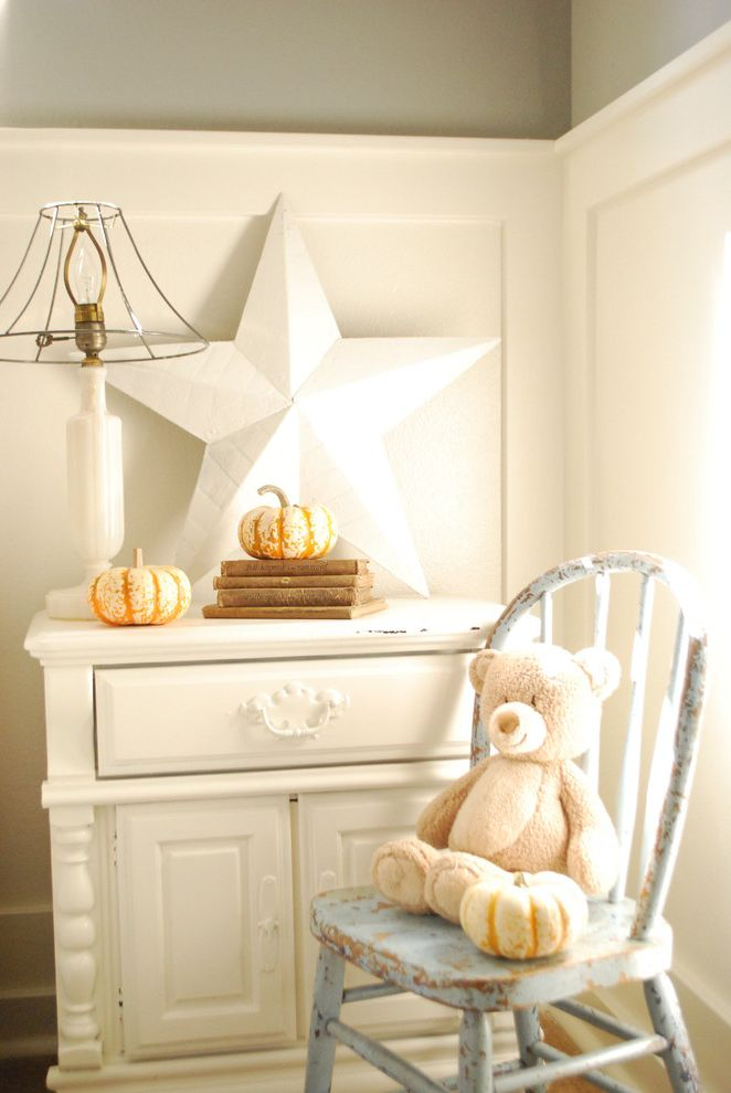 Star Pointe Realty with Shabby Chic Style Kids  and Bedroom Distressed Furniture Dresser Grey Wall Neutral Colors Pumpkins Star Table Lamp Tablescape Teddy Bear Wainscoting
