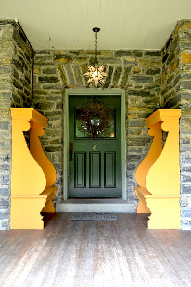 Star Shaped Light Fixture   Traditional Entry  and Curb Appeal Door Window Entry Bench Entryway Front Door Front Porch Glass Window in Door House Moravian Star Outdoor Bench Stone
