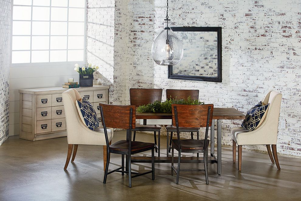 Starfurniture   Industrial Dining Room Also Brick Casual Chair Chip Dining Eclectic Furniture Home Host Hostess Industrial Joanna Gaines Loft Magnolia Metal Planter Table Wall Wood