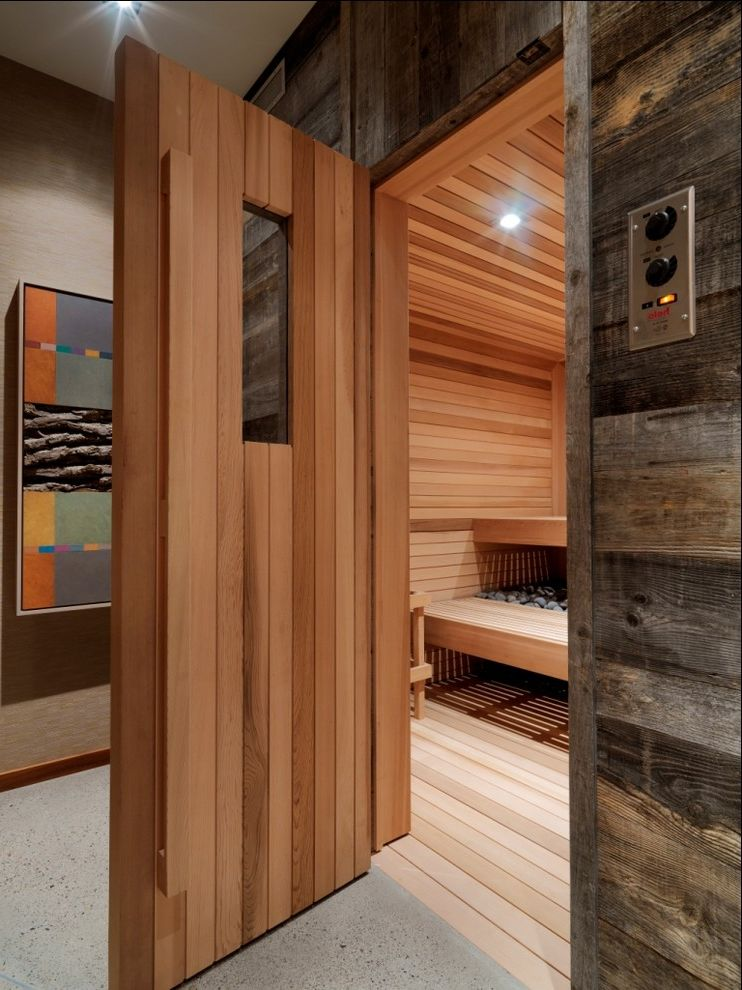 Steam Room vs Sauna   Rustic Bathroom  and Art Cedar Ceiling Light Concrete Rough Wood Rustic Sauna Stones Wallpaper Wood Paneling Wood Siding