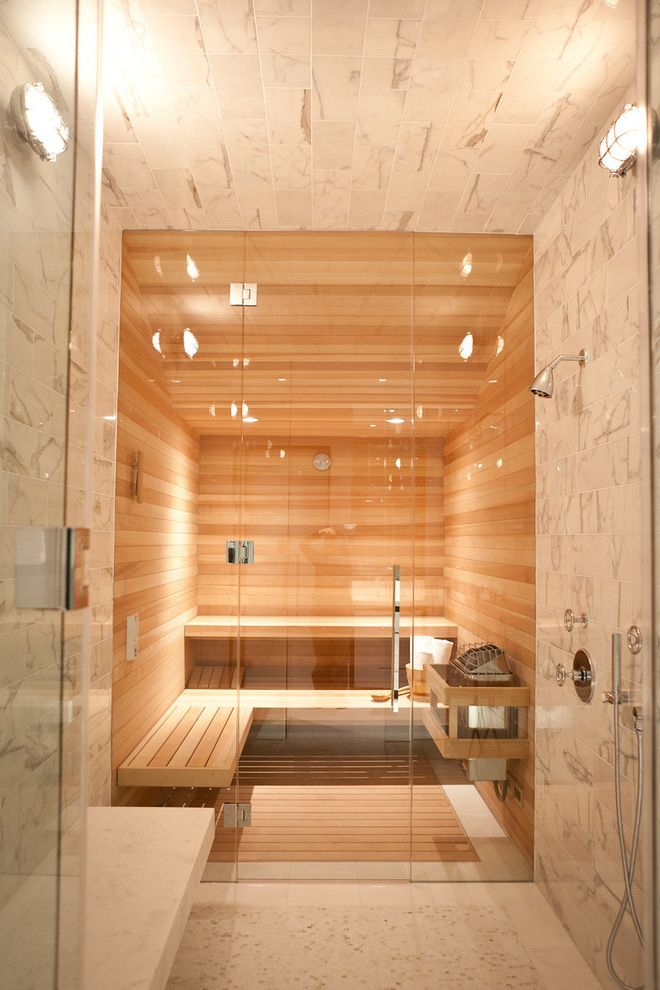 Steam Room Vs Sauna With Contemporary Bathroom Also Bench Frameless Shower Door Industrial Sconce Minimal