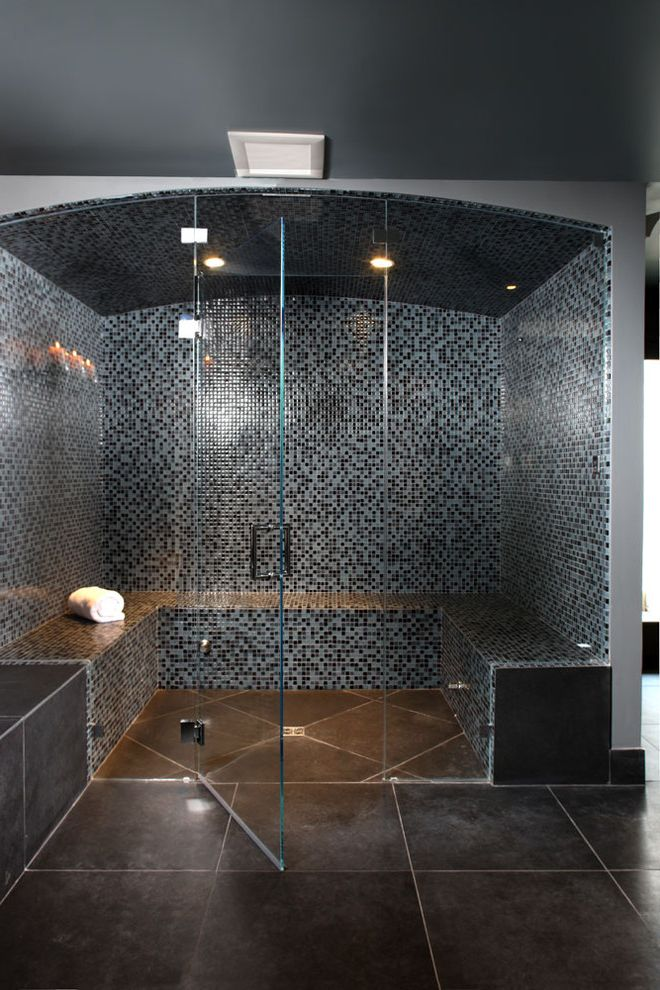 Steam Room vs Sauna with Rustic Bathroom and Bathroom Tile Glass ...